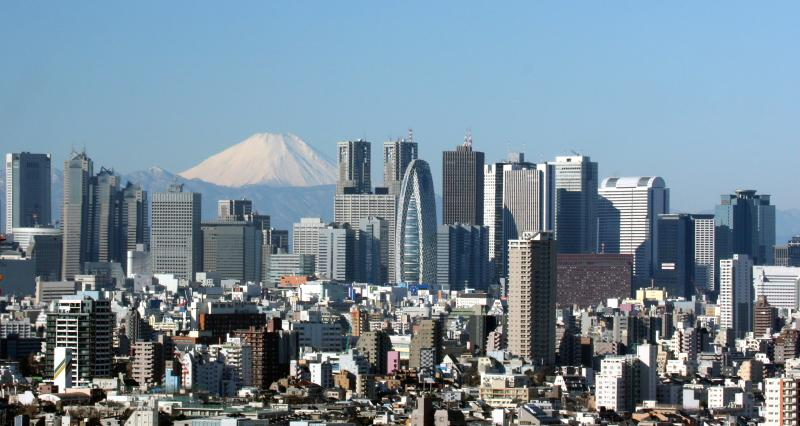 Mt. Fuji from Shinjuku skyscapers